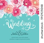 wedding invitation card with... | Shutterstock .eps vector #592925048