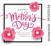 mother's day greeting card with ... | Shutterstock .eps vector #592925156