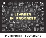 hand drawn icons about learning ... | Shutterstock .eps vector #592925243