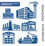 cargo and industry icon set... | Shutterstock .eps vector #592929434