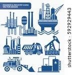 industry icon set clean vector | Shutterstock .eps vector #592929443