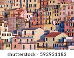 colorful traditional buildings... | Shutterstock . vector #592931183