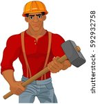 cheerful construction worker... | Shutterstock .eps vector #592932758