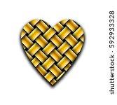wicker heart of gold bars on a...   Shutterstock .eps vector #592933328