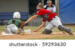 Small photo of BANGOR, MAINE - AUGUST 17: Ray-Patrick Didder of Latin America is tagged out by catcher Blake Bunch of U.S. Central at the 2010 Senior League Baseball World Series on August 17, 2010 in Bangor, Maine.