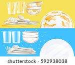 cleaning the dishes after a... | Shutterstock .eps vector #592938038