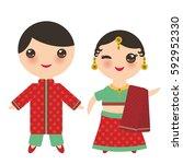 indian kawaii boy and girl in... | Shutterstock .eps vector #592952330