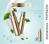 hydrating facial cream for... | Shutterstock .eps vector #592956236
