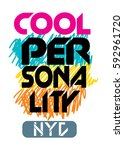 new york cool personality t... | Shutterstock .eps vector #592961720