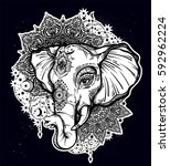 decorative vector elephant with ... | Shutterstock .eps vector #592962224