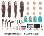 arab business woman character... | Shutterstock .eps vector #592964534
