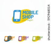 mobile shop logo set with... | Shutterstock .eps vector #592968014