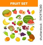 fresh fruits set of watermelon... | Shutterstock .eps vector #592978280