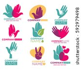 hand in hands logo templates... | Shutterstock .eps vector #592979498