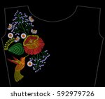 embroidery rose with... | Shutterstock .eps vector #592979726