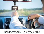video recorder driving a car on ...   Shutterstock . vector #592979780