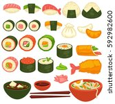 sushi rolls icons template for... | Shutterstock .eps vector #592982600