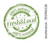 fresh local 100  natural grunge ... | Shutterstock . vector #592983128