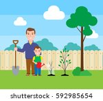 father and son planting trees... | Shutterstock .eps vector #592985654