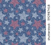 jeans background with stars.... | Shutterstock .eps vector #592987418