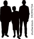 a family portrait  silhouette... | Shutterstock .eps vector #592992734