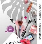 beauty and cosmetics background.... | Shutterstock .eps vector #593000420