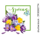 spring background with blooming ... | Shutterstock .eps vector #593000774