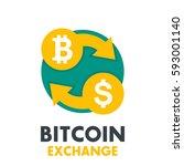 bitcoin to dollar exchange icon ... | Shutterstock .eps vector #593001140