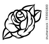 flower rose  black and white.... | Shutterstock .eps vector #593001800