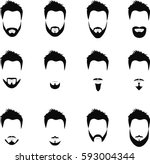 set of men hairstyles  beards... | Shutterstock . vector #593004344