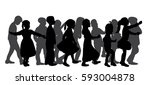 silhouette of a group of... | Shutterstock .eps vector #593004878