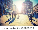 crowd of anonymous people... | Shutterstock . vector #593005214