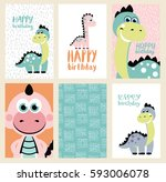 set of six fun birthday card... | Shutterstock .eps vector #593006078