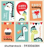 set of six fun birthday card... | Shutterstock .eps vector #593006084