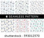 geometric vector set seamless... | Shutterstock .eps vector #593012570