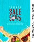 beautiful flyer for summer sale.... | Shutterstock .eps vector #593012588
