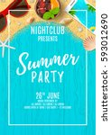 beautiful flyer for summer... | Shutterstock .eps vector #593012690