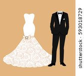 wedding card with the clothes... | Shutterstock .eps vector #593018729