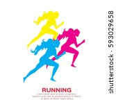 woman running. girl run  jogge. ... | Shutterstock .eps vector #593029658