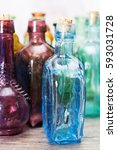 selection of coloured glass... | Shutterstock . vector #593031728