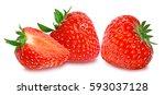 strawberry on white background | Shutterstock . vector #593037128