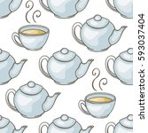 seamless pattern with teacups... | Shutterstock .eps vector #593037404