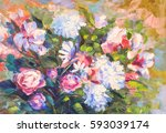 painting still life oil... | Shutterstock . vector #593039174