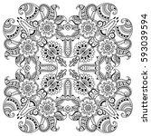vector henna tatoo mandala....   Shutterstock .eps vector #593039594