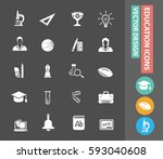 education icon set clean vector | Shutterstock .eps vector #593040608