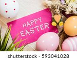 happy easter day  bunny and egg ... | Shutterstock . vector #593041028