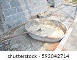 cement mix concrete is... | Shutterstock . vector #593042714