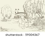 vector drawing. two swans in... | Shutterstock .eps vector #59304367