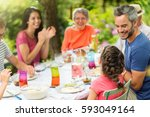 multi generation family having... | Shutterstock . vector #593049164