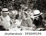 three generations family having ... | Shutterstock . vector #593049194